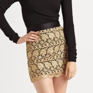 Milly Gold Lace and Black Satin Mini Skirt Size 0